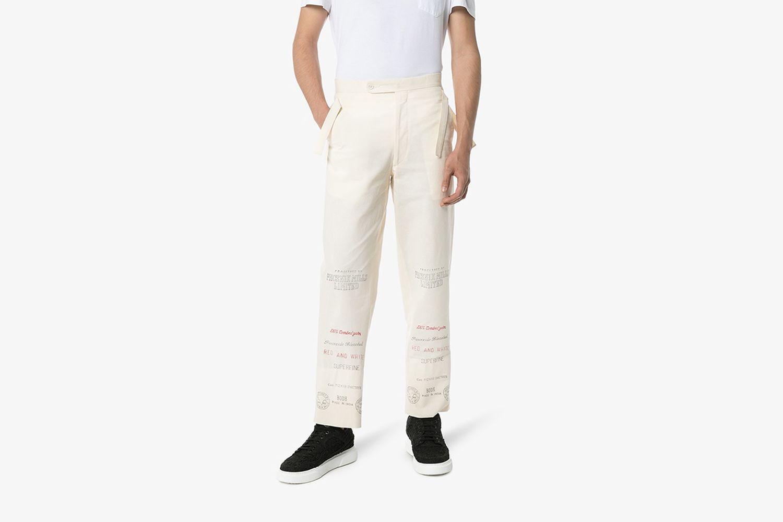 Linen Mill Print Trousers