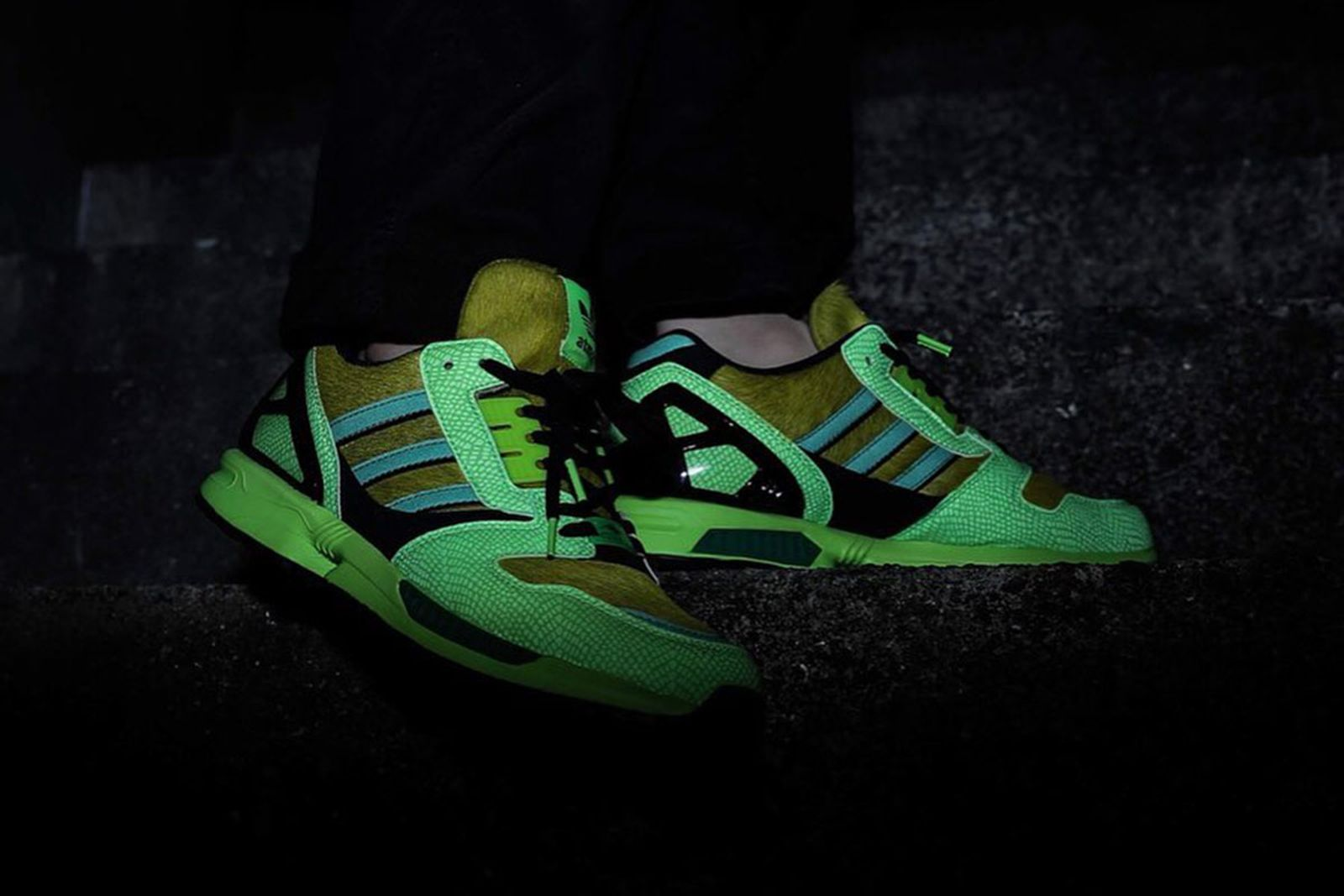 atmos x adidas ZX 8000 side profile view glow in the dark