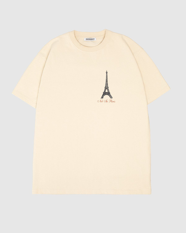 Highsnobiety — Not In Paris Eiffel Tower T-Shirt Eggshell - Image 2