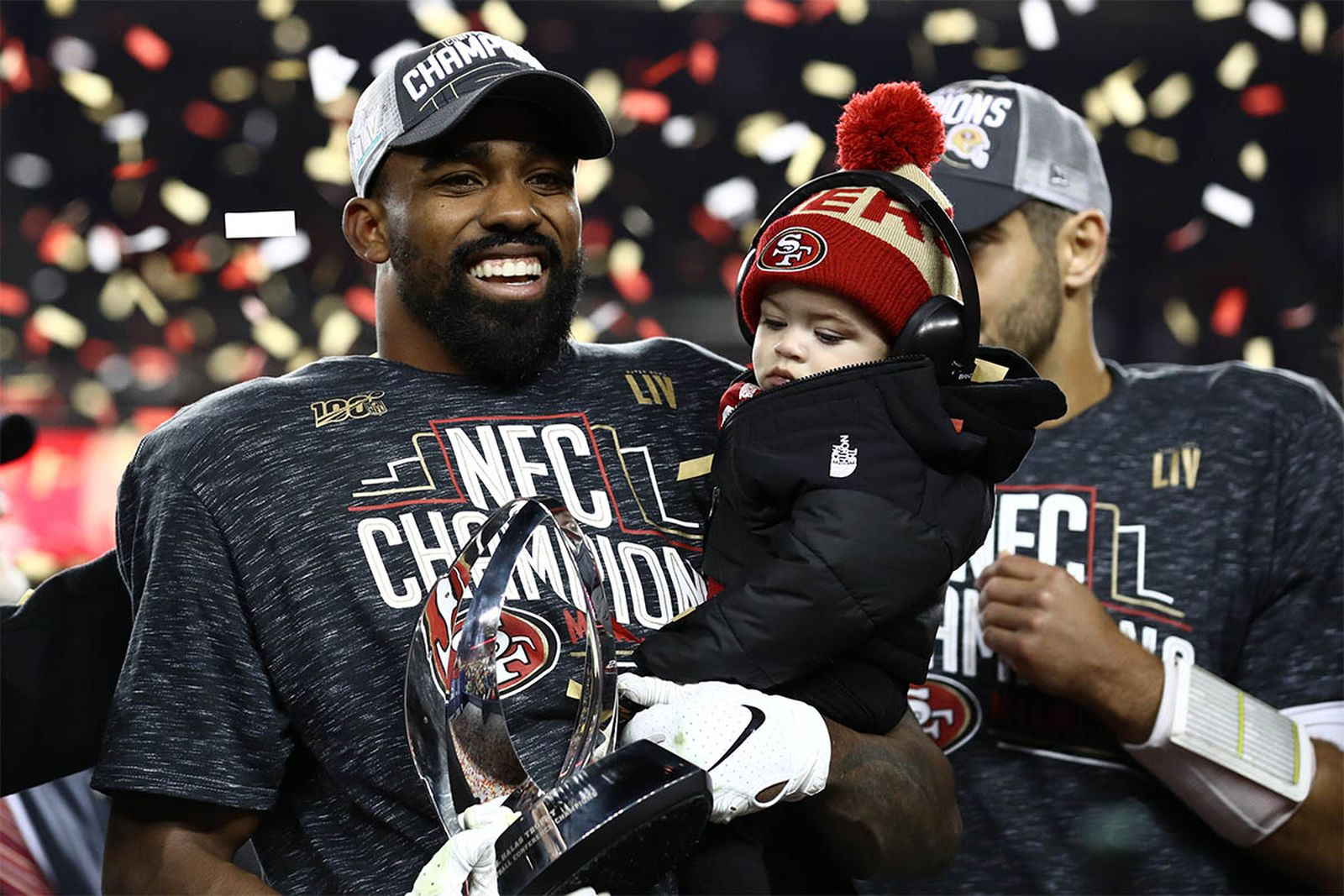 San Francisco 49ers' Raheem Mostert celebrates NFC championship win.