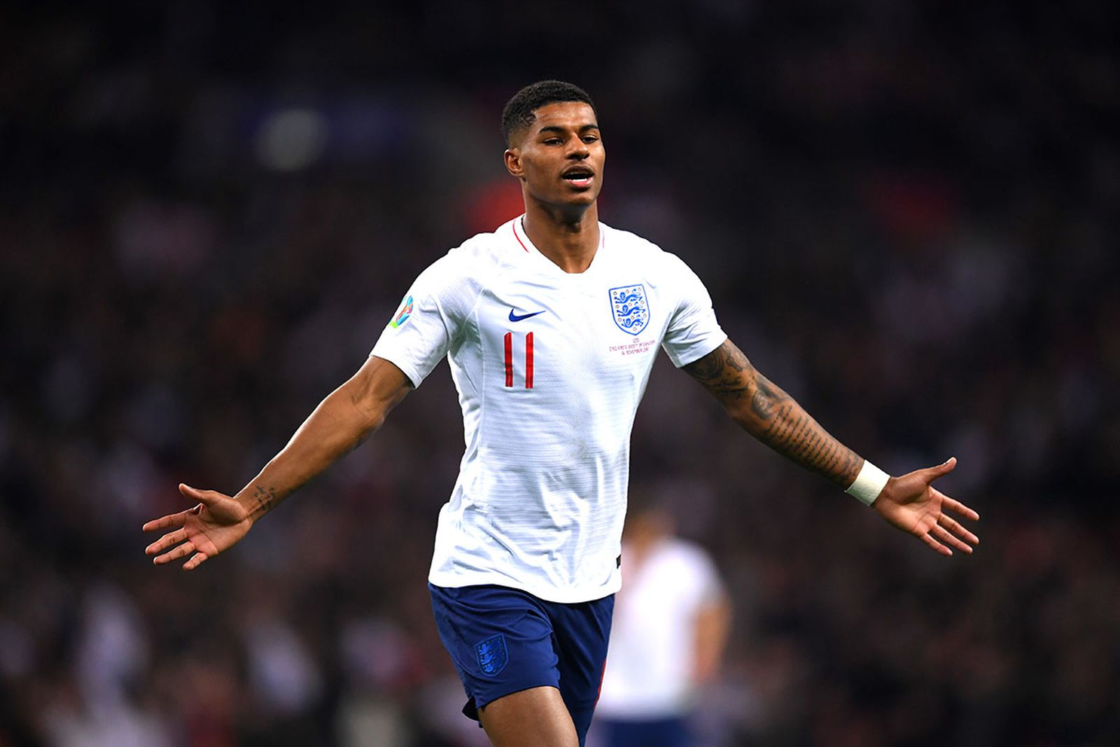 Marcus Rashford of England celebrates after scoring his sides fourth goal during the UEFA Euro 2020 qualifier between England and Montenegro at Wembley Stadium