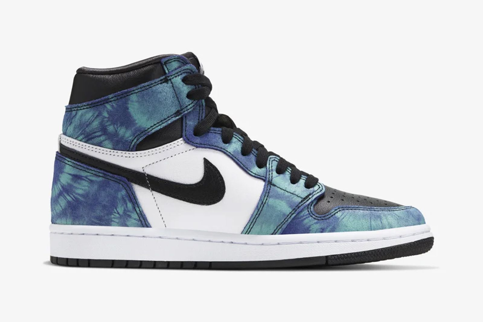 Black and blue tie-dye Nike Air Jordan 1 view from the side