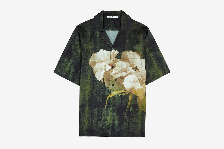 Simon Floral-Print Satin Shirt