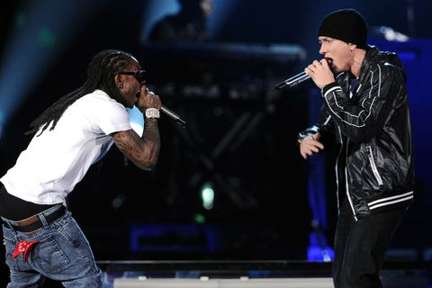 Lil' Wayne and Eminem performs onstage during the 52nd Annual GRAMMY Awards