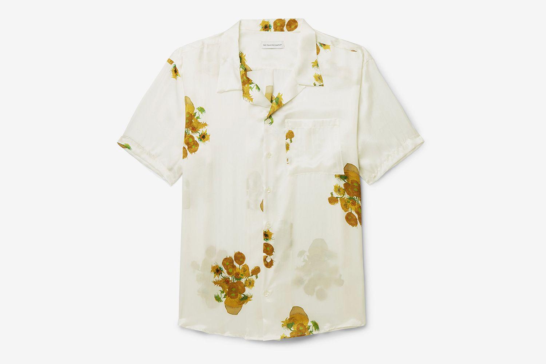 Van Gogh Camp-Collar Printed Silk-Satin Shirt