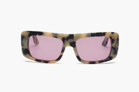 Rectangle Tortoiseshell-Effect Acetate Sunglasses