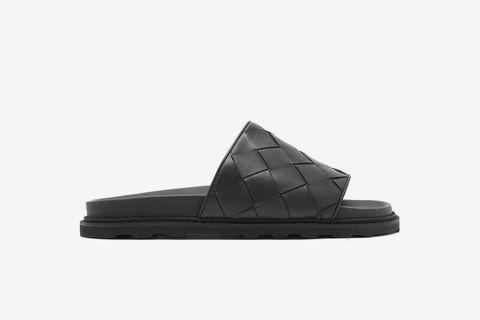 Intrecciato Leather Slides