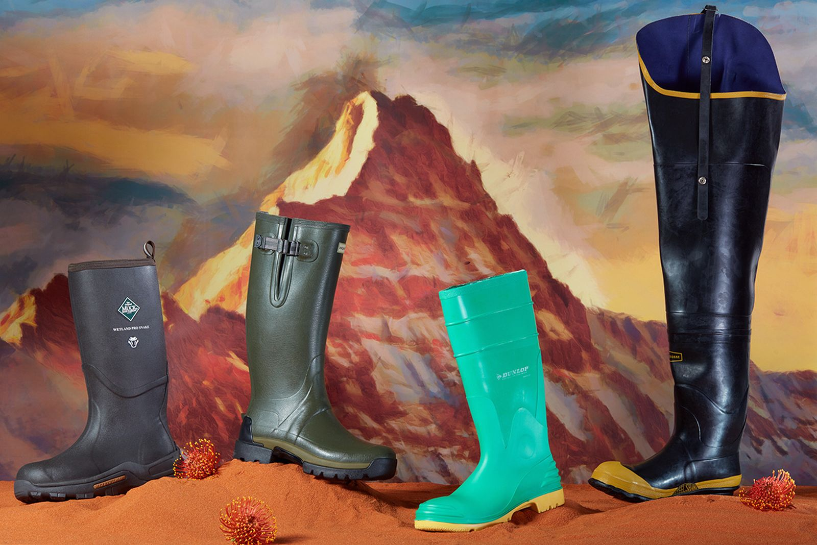"""(FROM LEFT TO RIGHT) Muck Wetland Rubber Premium Men's Field Boots THE ORIGINAL MUCK BOOT COMPANY, Balmoral Adjustable 3mm Neoprene Rain Boots HUNTER,  Hazmax Steel Toe & Midsole Boots DUNLOP, Economy Hip 32 Inch"""" Black Steel Toe Boots LACROSSE"""