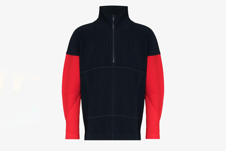 Color-Block Plissé Sweater