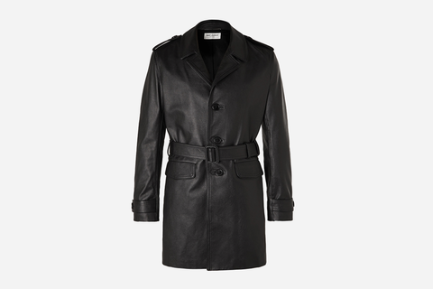 Frank Belted Leather Trench Coat