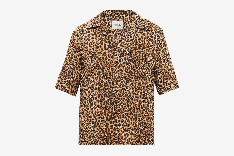 Bolen Cuban-collar Leopard-Print Crepe Shirt