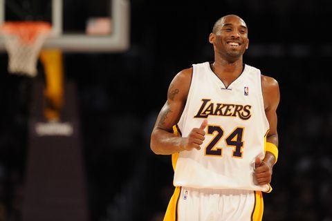 Kobe Bryant smiles