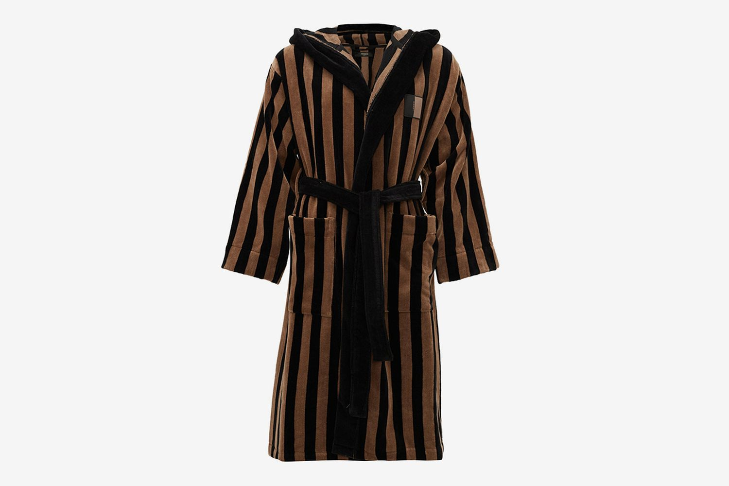 Striped Cotton-Terry Hooded Bathrobe
