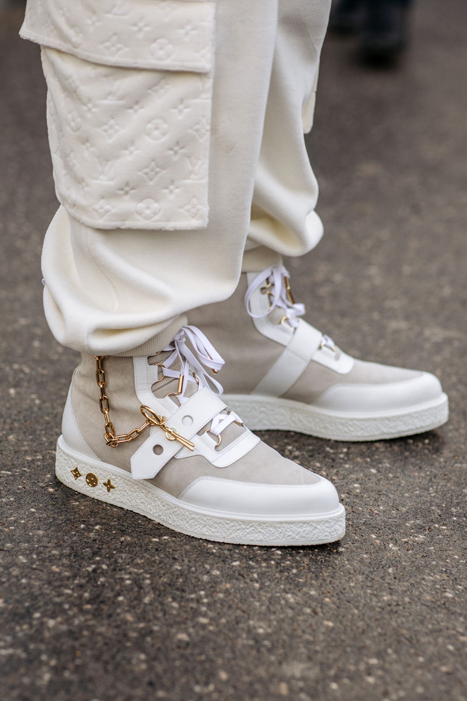 pfw fw19 sneaker street style roundup Berluti Louis Vuitton Maison Margiela
