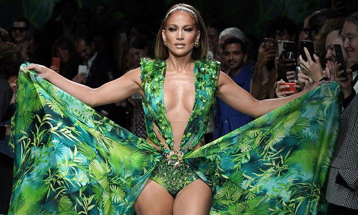Jennifer Lopez green Versace dress Milan