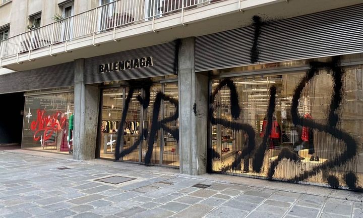 Kidult Balenciaga Paris store graffiti