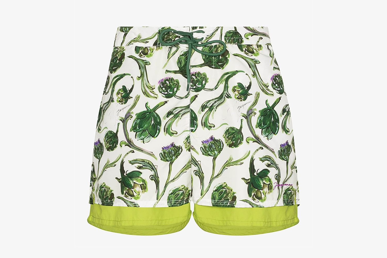 Le Double Maillot Artichoke Print Swim Shorts