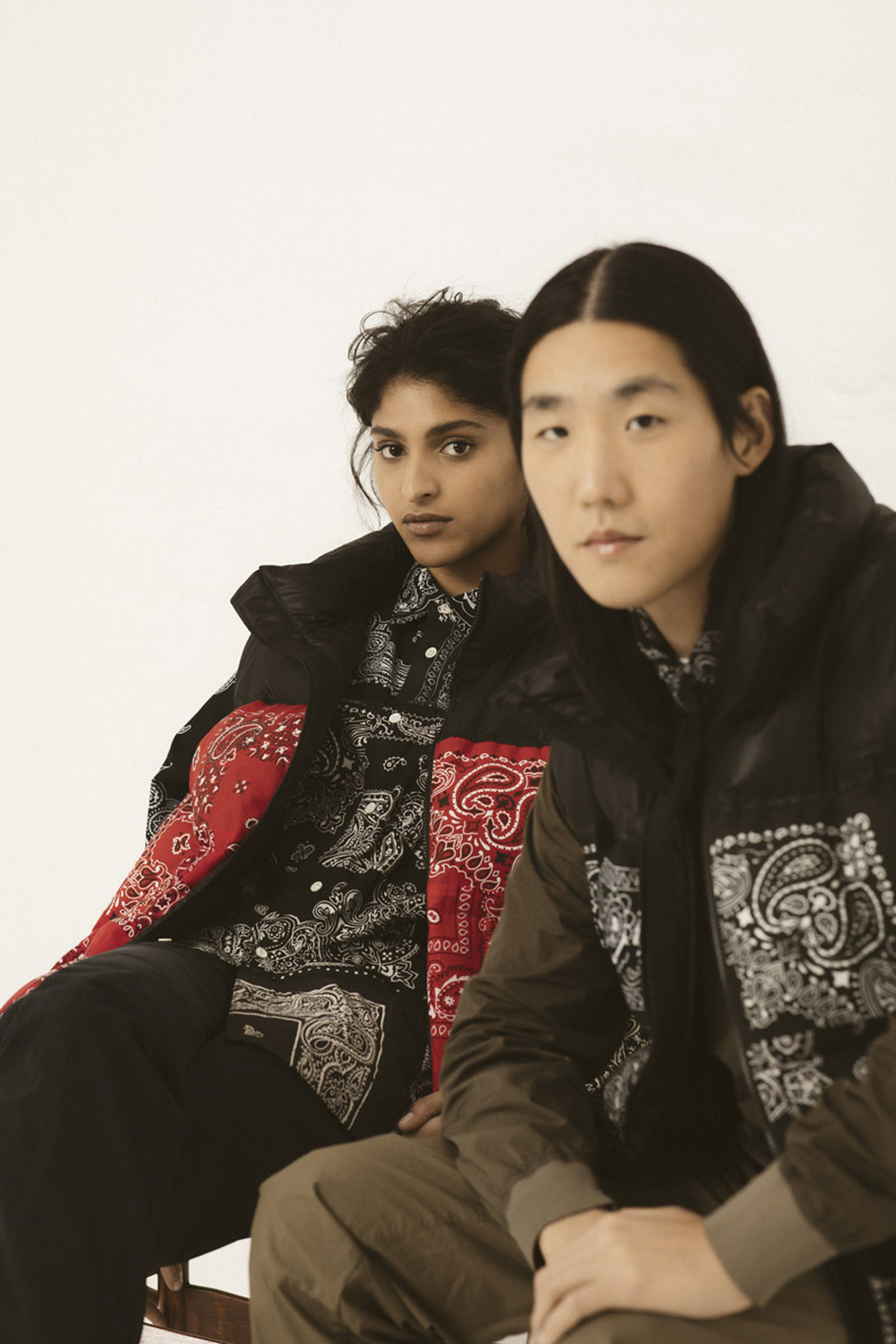 MIYAGIHIDETAKA Bandana Puffer Vest Black, and Red