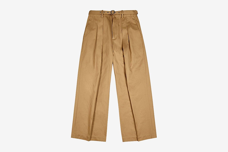 Wide-Leg Twill Trousers