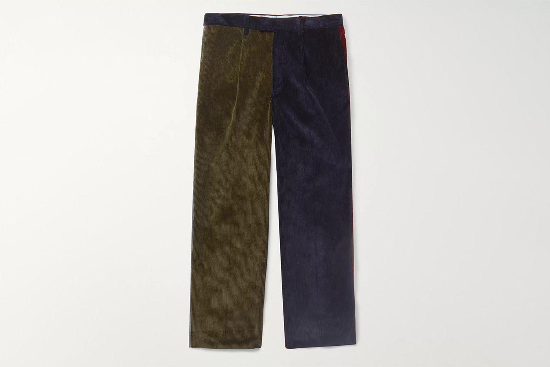 Color-Block Corduroy Trousers