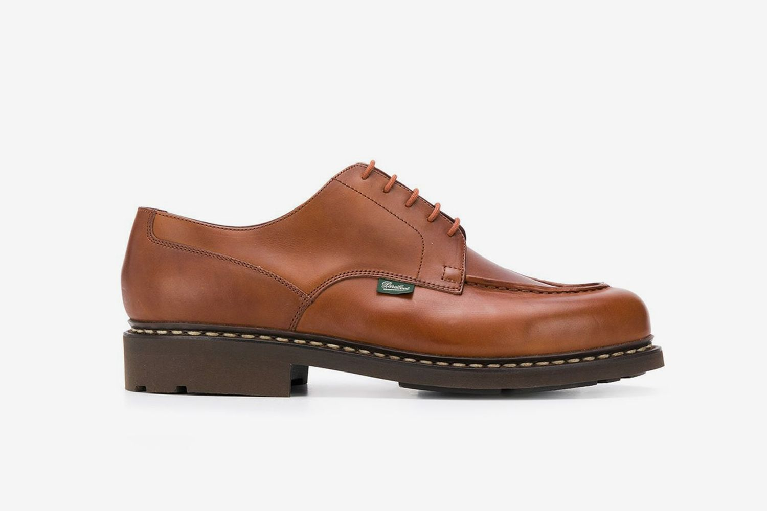 Exposed-Stitched Leather Shoes