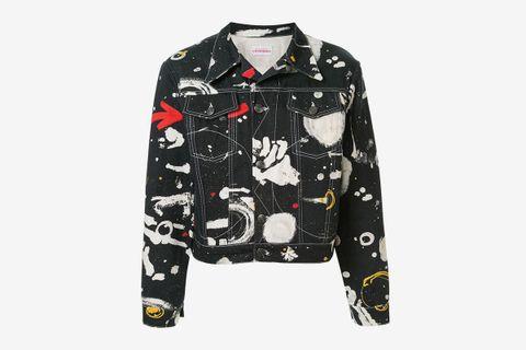 Cropped Asteroids Print Denim Jacket