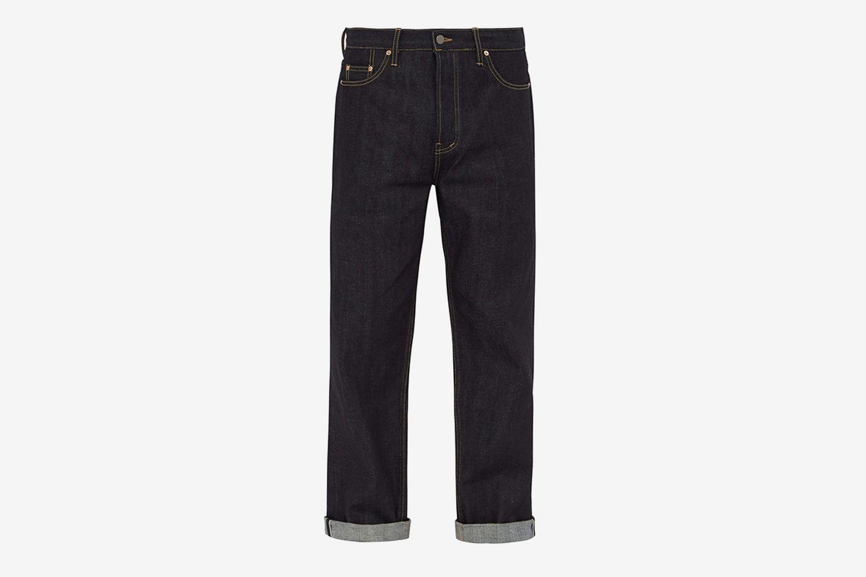 Raw Selvedge Denim Wide-Leg Jeans