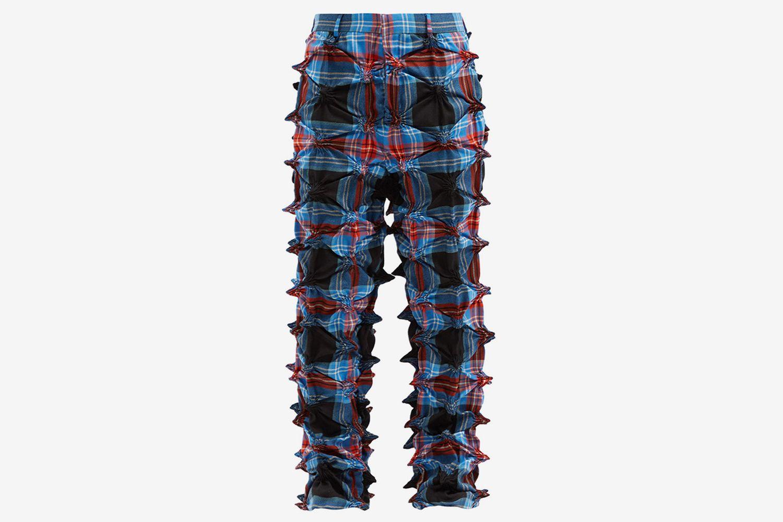 Spike-Gathered Tartan Wool Trousers