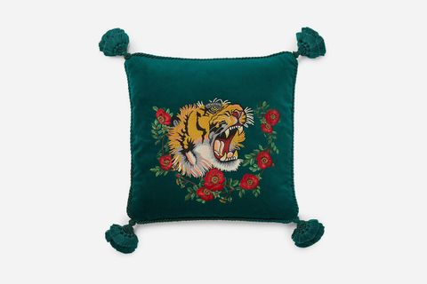 Tiger Embroidered Pillow
