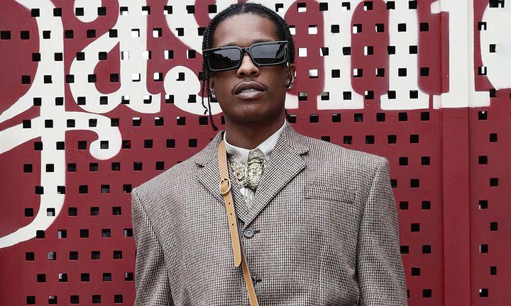 asap rocky wears shades and blazer at Gucci Milan fashion week