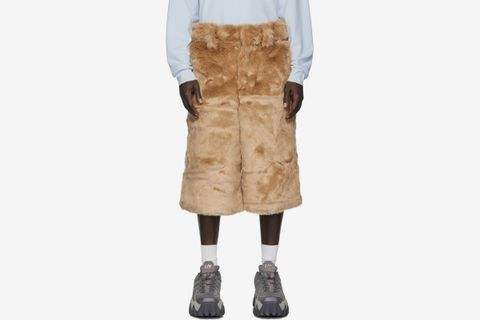 Brown Faux-Fur Shorts