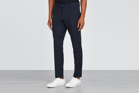 slim-leg stretch-twill trousers