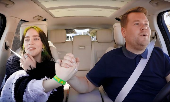 Billie Eilish and James Corden