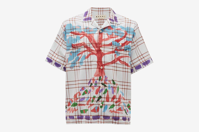 Tree-Print Checked Cotton Shirt