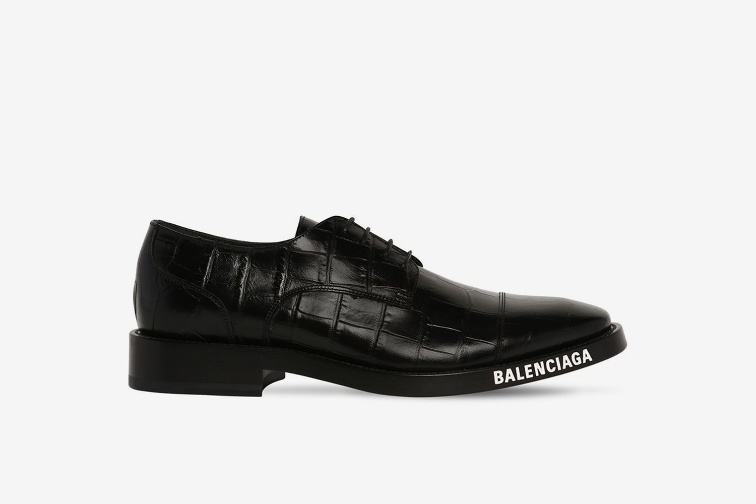 Croc Embo Leather Lace-Up Derby Shoes