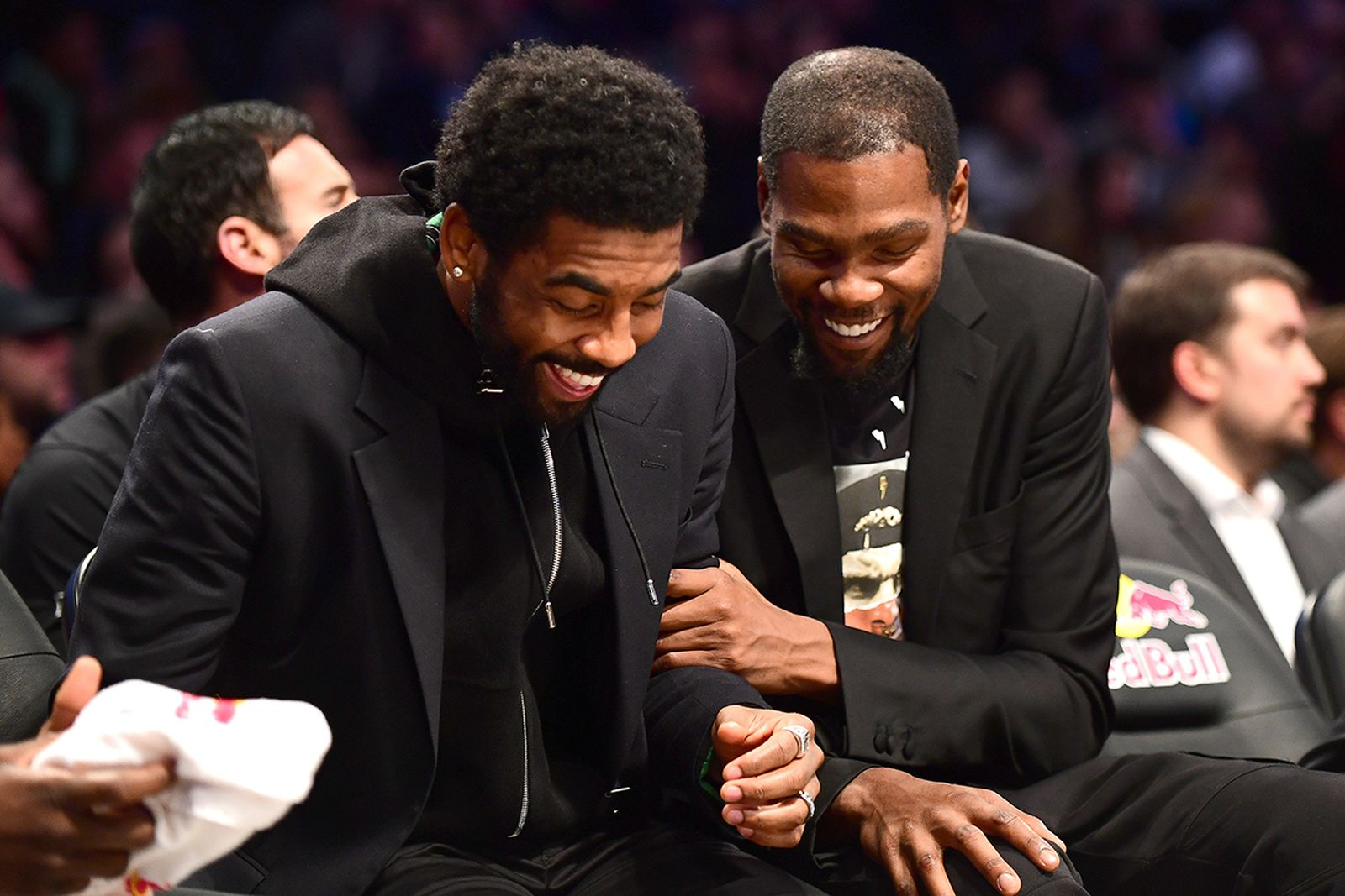 Kyrie Irving Kevin Durant laughing