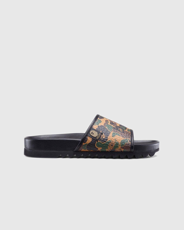 MCM x BAPE — Camo Slide Sandal Kamo Khaki - Image 1