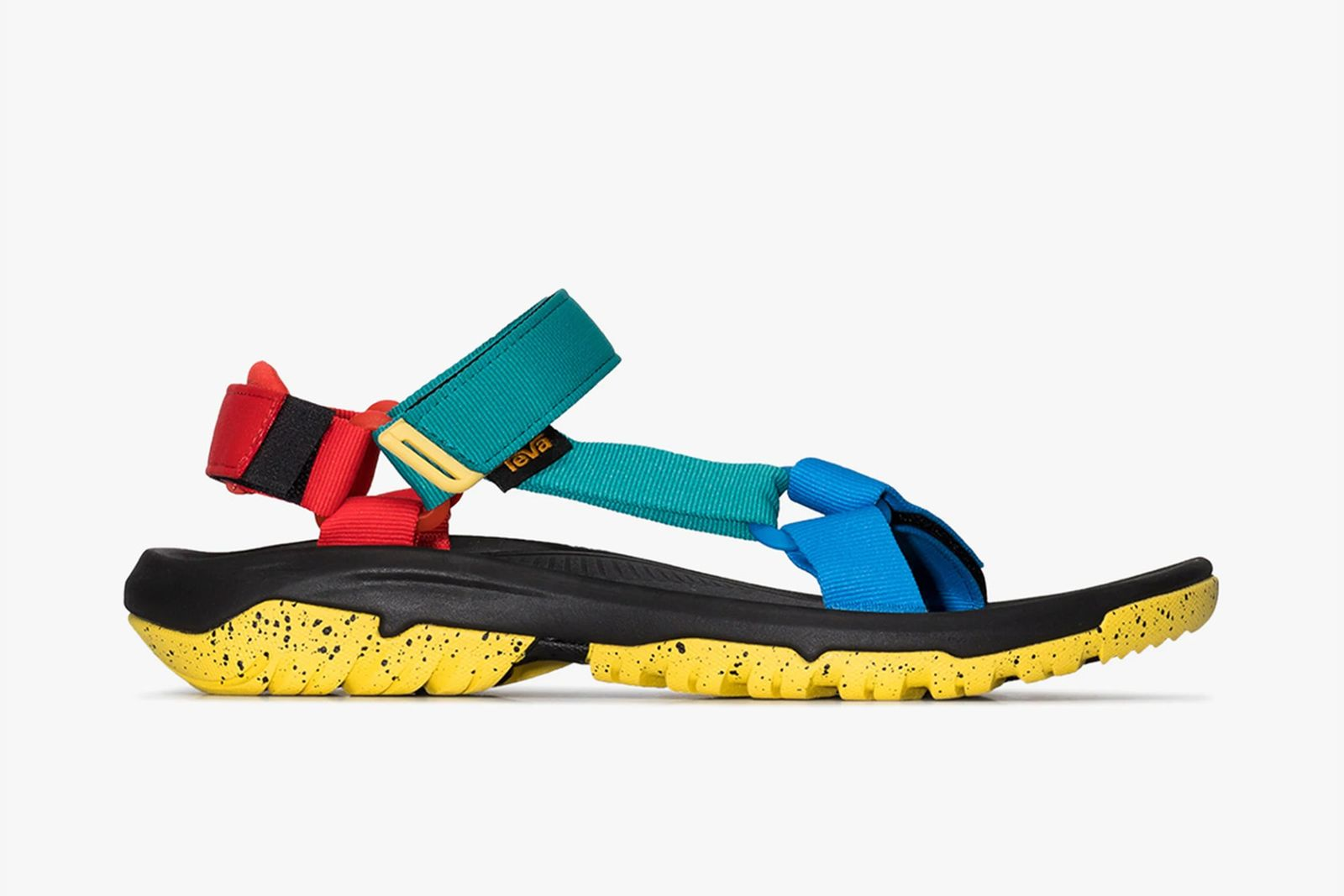 Side profile view of a colorful Teva Hurricane XLT2 sandal