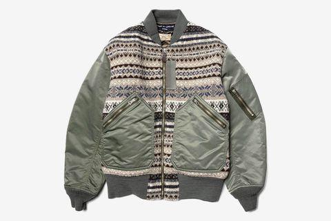 Nylon Twill x Wool Knit MA-1 Jacket