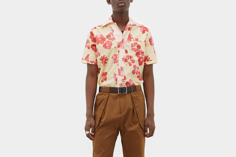 Cuban Collar Cotton Poplin Shirt