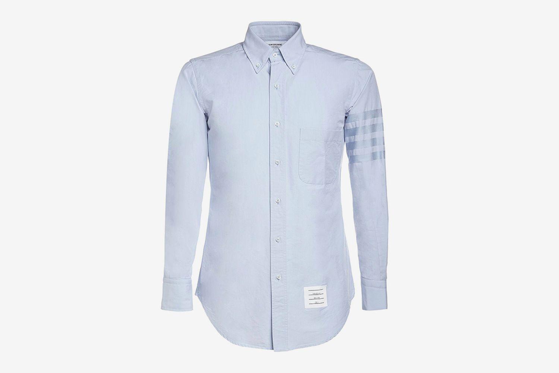 Cotton Oxford Shirt With Satin 4 Bar