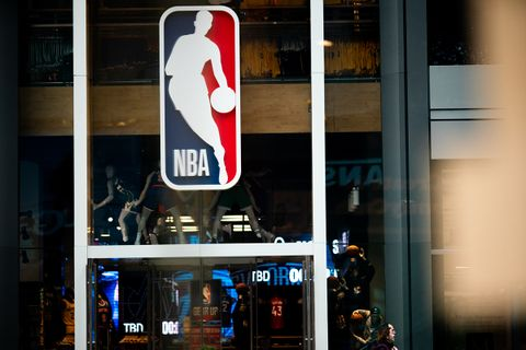 NBA logo is shown at the 5th Avenue NBA store