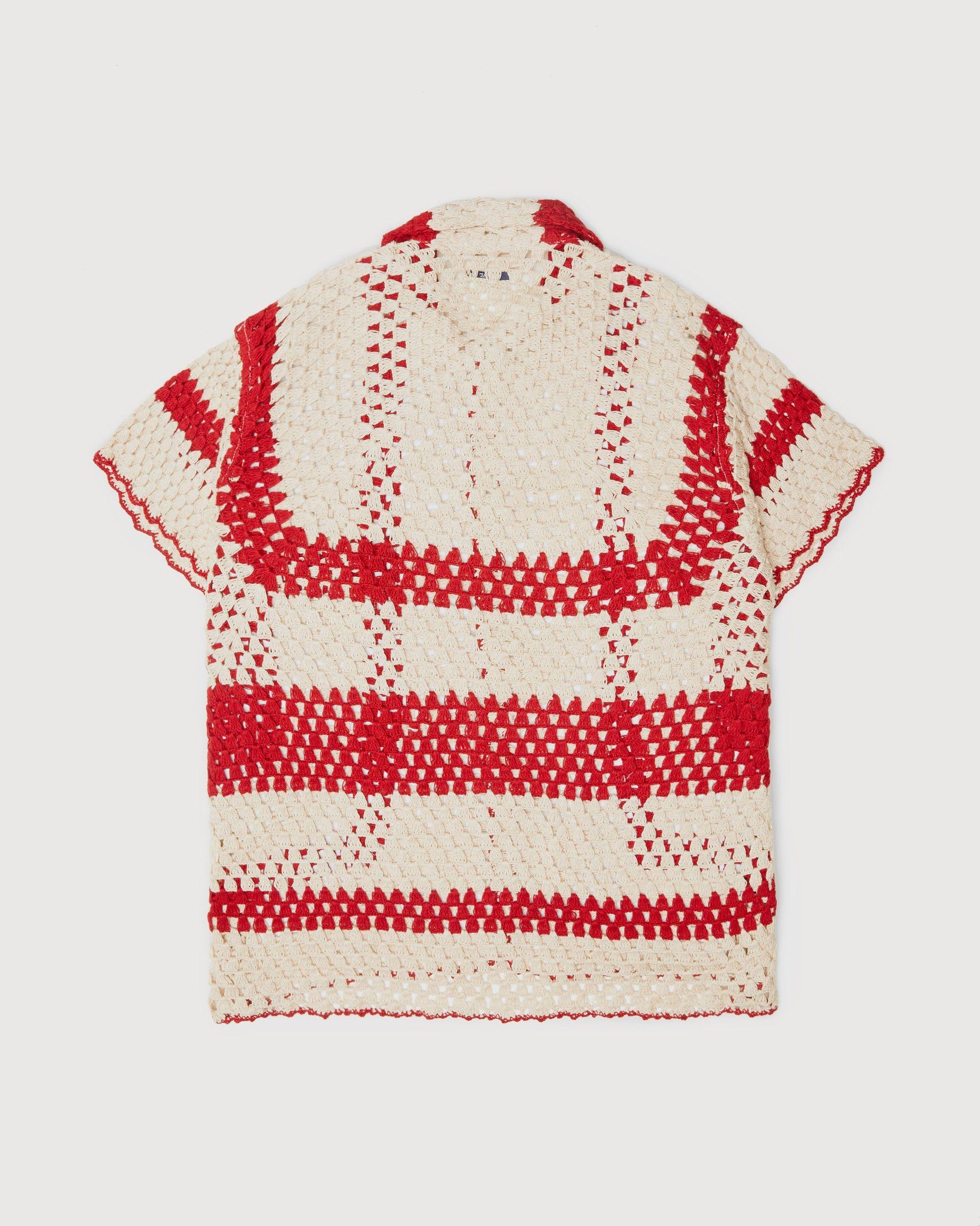 BODE - Crochet Big Top Shirt White Red - Image 2