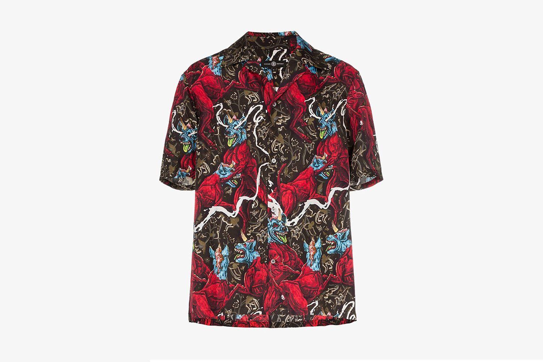 Edward Crutchley dog print short sleeved silk shirt