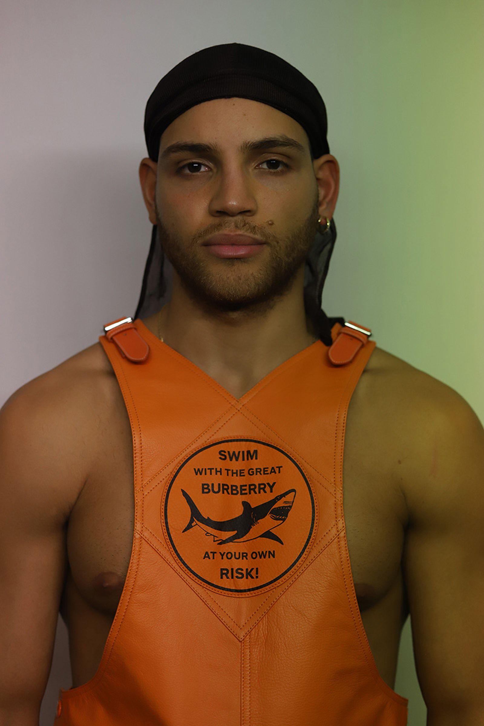 orange leather dungaree BURBERRY earing MARCO PANCONESI durag personal