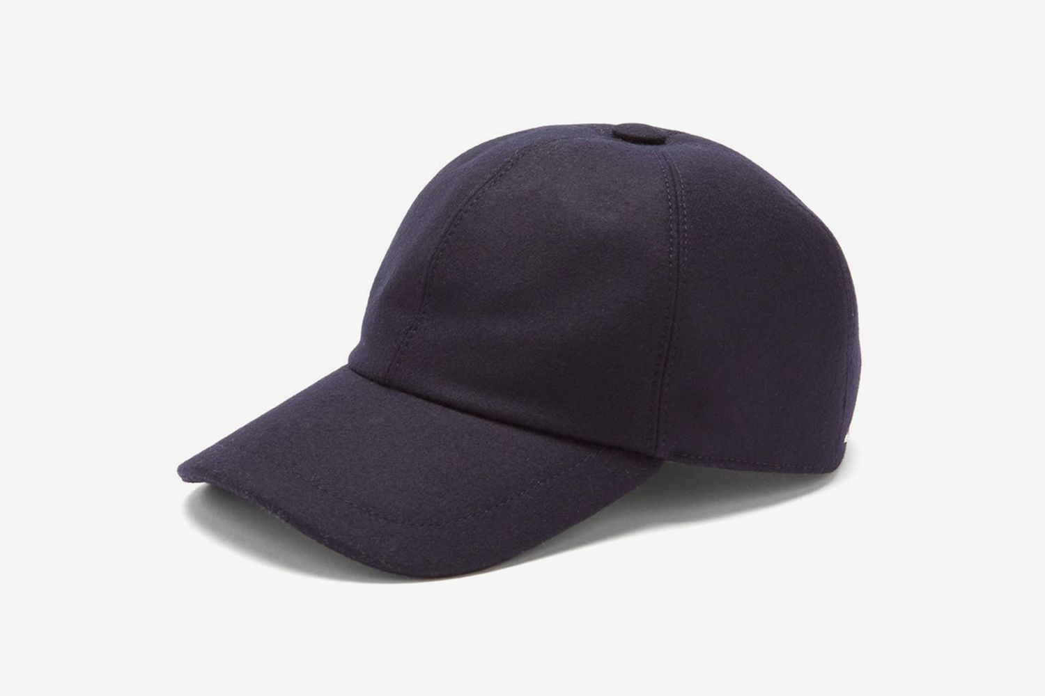 Curved-Brim Wool-Flannel Cap