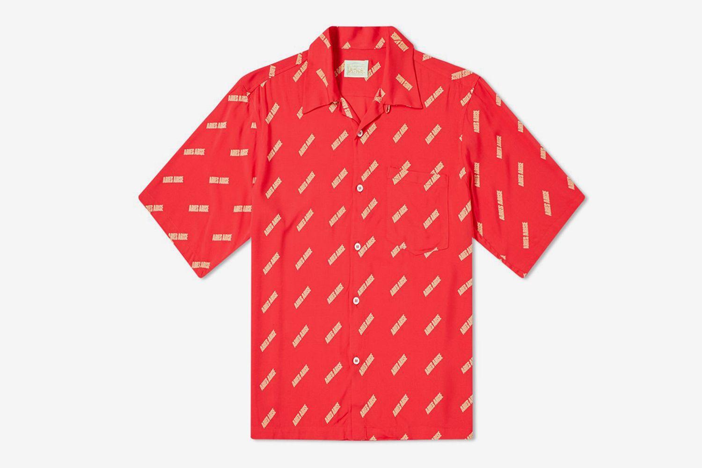 Logo Print Bowling Shirt