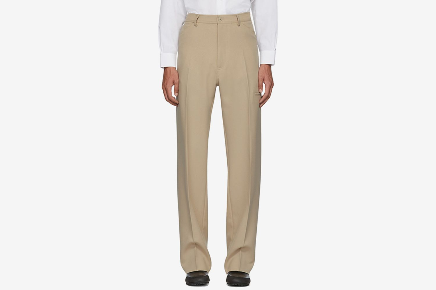 Beige High-Rise Five-Pocket Trousers