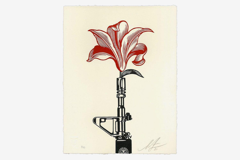 AR-15 Lily Letterpress Print