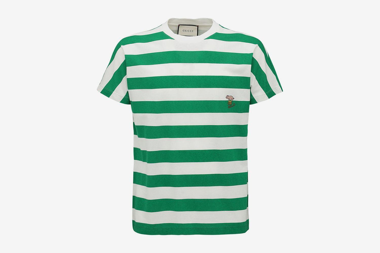Logo Detail Striped Cotton T-Shirt